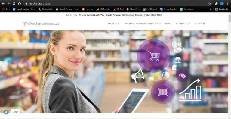 Website Design example Merchandiserscoza